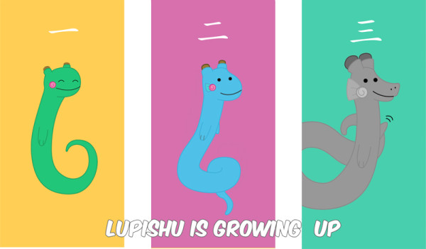Lupishu's first three stages of evolution