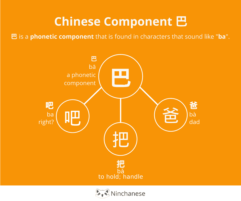 Everything you need to know about the Chinese character component 巴 ba wish in an easily downloadable and sharable image