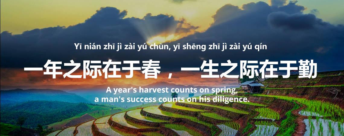 一年之际在于春,一生之际在于勤 - Yī nián zhī jì zài yú chūn, yī shēng zhī jì zài yú qín. - A year's harvest counts on spring; a man's success counts on his diligence.