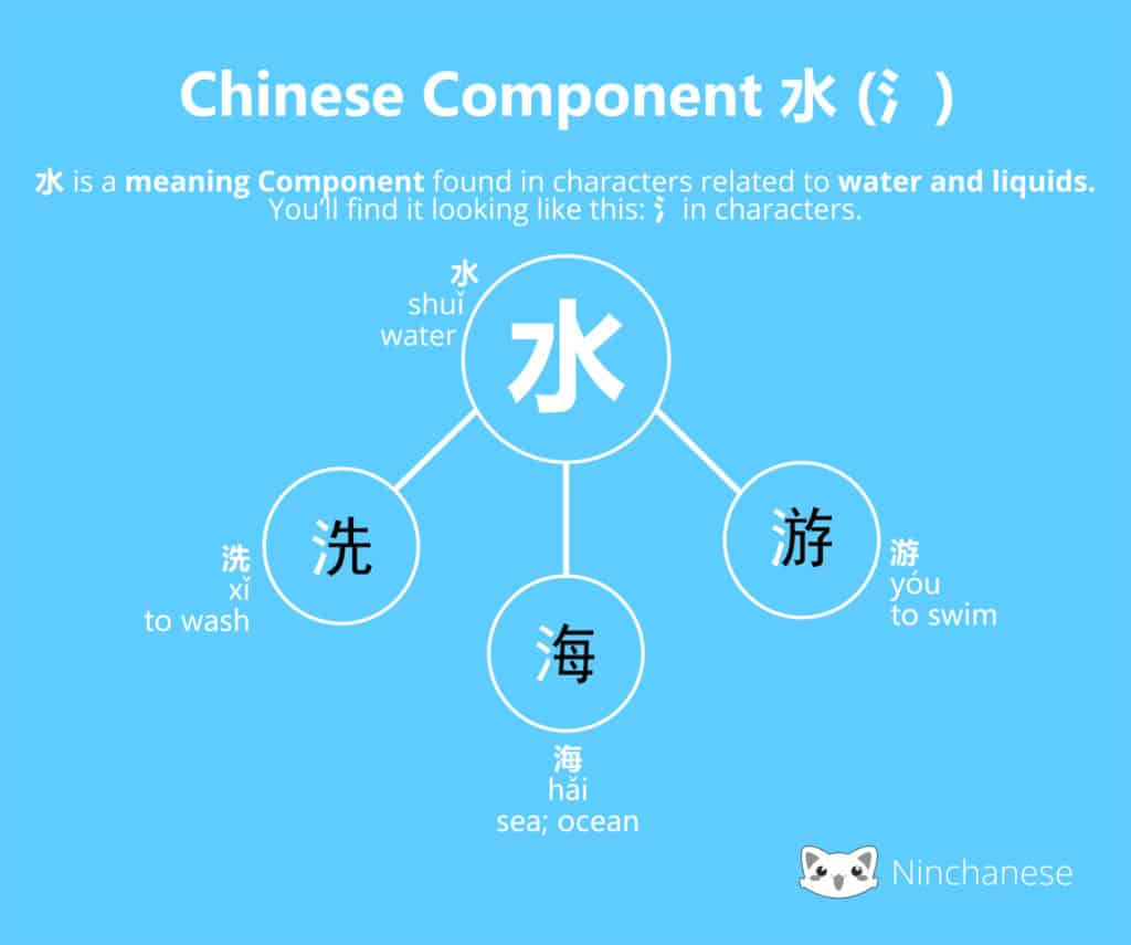 Everything you need to know about the Chinese character component 水 water in an easily downloadable and sharable image