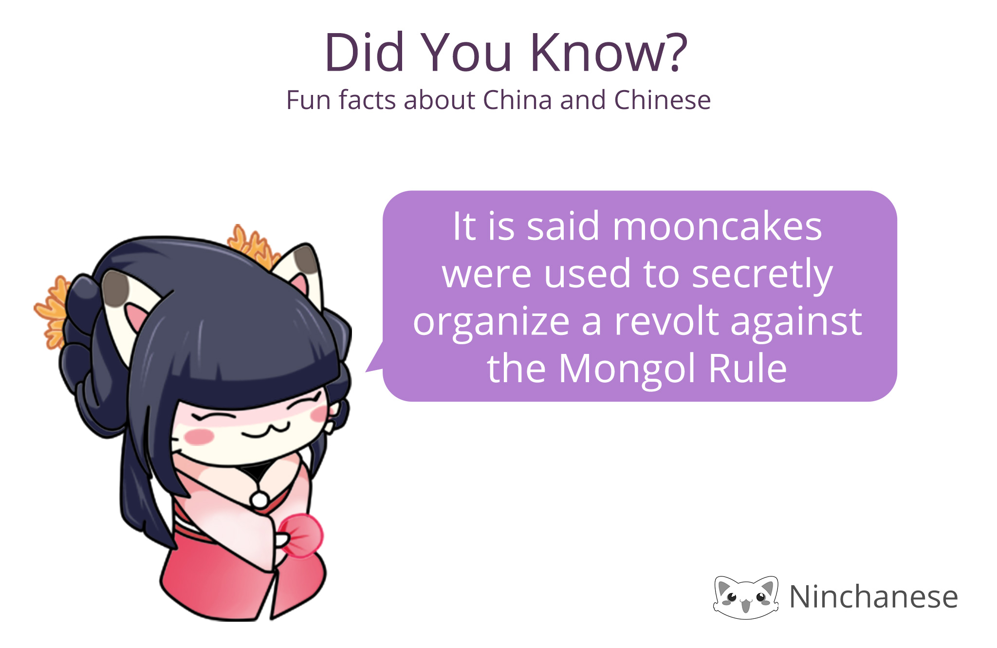 A fun mooncake folktale in honor of the Mid-autumn festival: mooncakes were secretly used to overthrow the Mongol Rule it seems