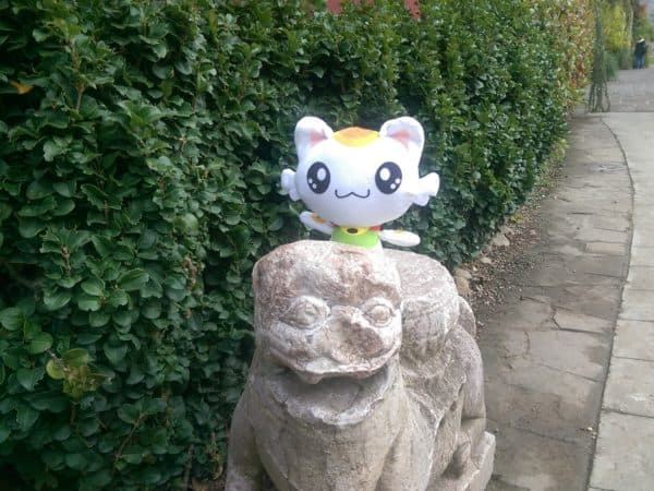 Nincha found a statue in honor of Master Turtle at Pairi Daiza