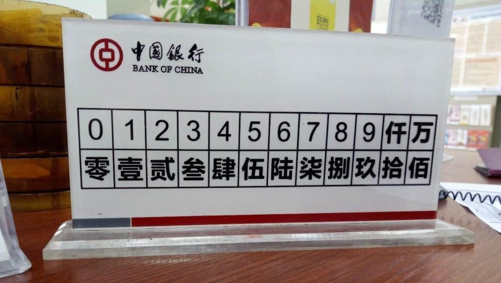 bank number complex chinese