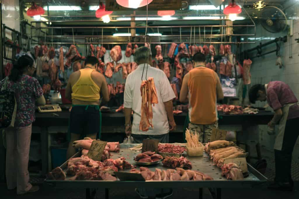 A Meat Stall in Market, with different cuts of Meat